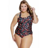 Cherry Print Plus Size Two Piece Swimsuit