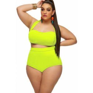 Neon Yellow halter Bandeau high Waist Plus Size Swimwear