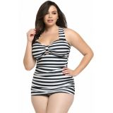 Black White Striped Plus Size Tankini