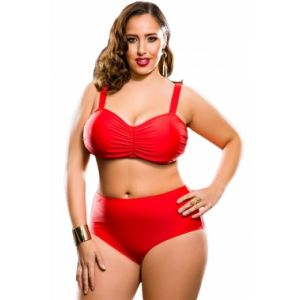 A bright swimsuit with a high waist Plus Size