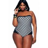 Black White Graphic Print Bandeau 1 PC Plus Size Swimwear