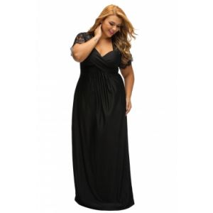 Black Lace Yoke Ruched Twist high Waist Plus Size Gown. Артикул: IXI53089