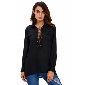 Black Long Sleeve Lace-up Top. Артикул: IXI53090