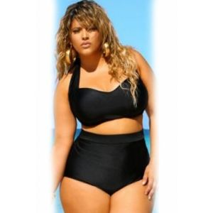 Black Halter Bandeau High Waist Plus Size Swimwear - * Большие размеры