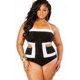 Contrast White Detail Cutout 1pc Plus Size Swimsuit