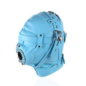 Голубая полностью закрытая бдсм маска