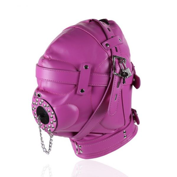 Фиолетовая полностью закрытая бдсм маска