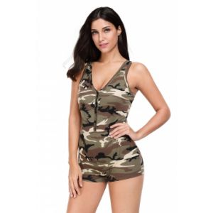 Military-inspired jumpsuit with V-neck