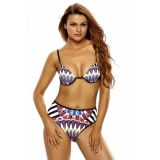 Multicolor Tribal Print 2pcs High Waist Swimsuit