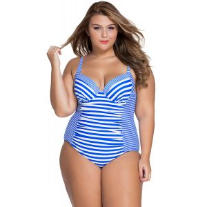 Piece striped swimsuit Plus Size