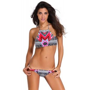 Swimwear with a geometric print
