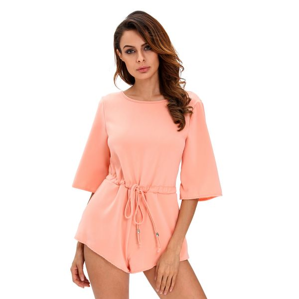 Pink Drawstring Knot Open Back Romper