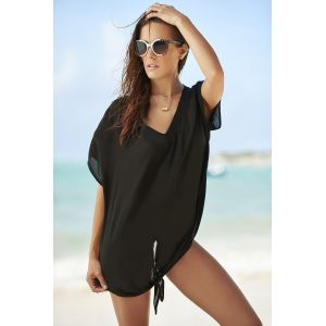 Black Breezy Tie The Knot Beach Cover Up
