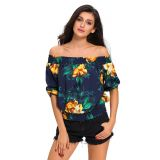 Navy Blue Floral Off-the-shoulder Top