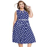 Blue Plus Size Polka Dot Bohemain Print Dress with Keyholes