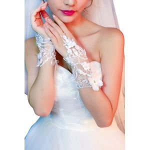 White wedding gloves open