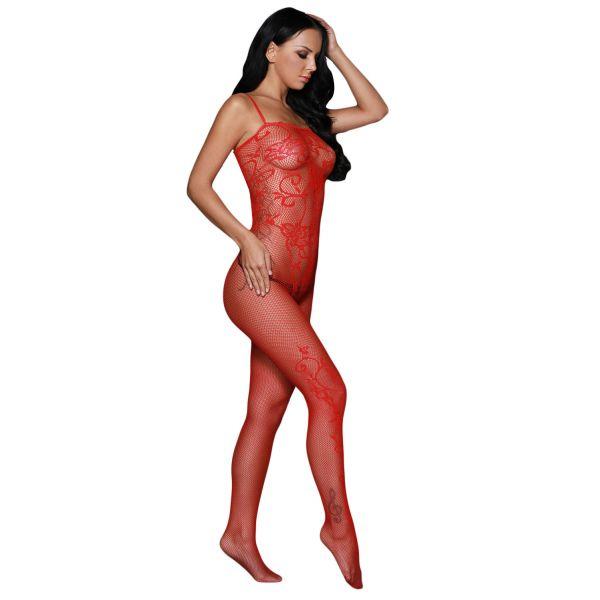 Red Sleeveless Floral Tattoo Body Stocking. Артикул: IXI53419