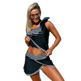 Striped Ruffle One Shoulder Tankini Swimsuit