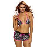 Rosy Black Floral Halter Bikini Boardshort Swimsuit