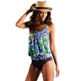 Live Beach Ethnic Print 2pcs Tankini Swimsuit