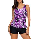 Purplish Dewdrop Print Blouson Tankini Swimsuit
