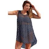 Monochrome Polka Dot Sheer Chiffon Beach Dress