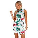 Retro Floral Print Open Back Sleeveless Mini Dress