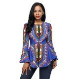 Cobalt Blue African Print Zipper Front Long Sleeve Top