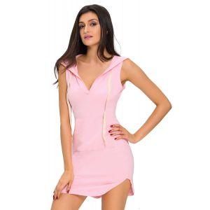 Pink Cotton Sweat hoodie Dress