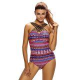 Crisscross Multi-strap Bright Tone Print Sexy Monokini