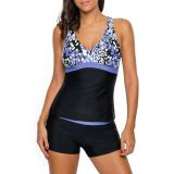 Blue White Spots 2pcs Tankini Bathing Suit