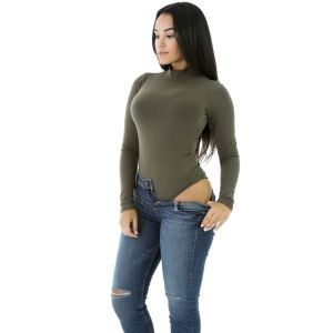 Olive stretch bodysuit with long sleeves