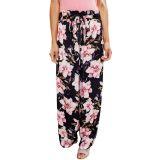 Black Pink Floral Satin Wide Leg Pants