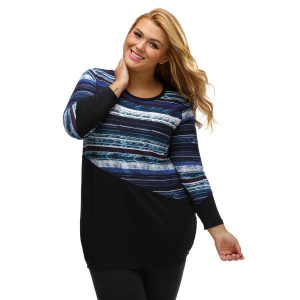 Bluish Striped Contrast Splice Plus Size Top