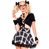5 Pieces Black Plaid Detention Hottie Costume