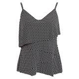 White Polka Dot Black Cami Swim Top