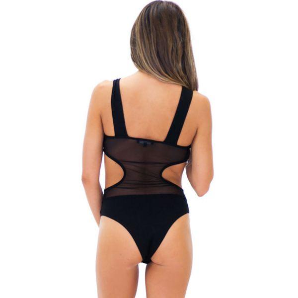 Black bodysuit with semi-sheer panels. Артикул: IXI53809