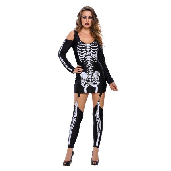 Рентген Хеллоуин с плеча скелет платье костюм
