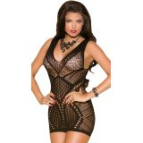 Black Seamless hollow-out Deep Plunge Chemise