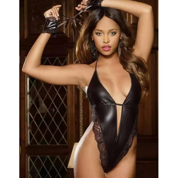 New Black Faux Leather Open Breast Teddy Lingerie Pu Thefappening Wiki 1