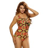 Stylish Multicolor Print Lace Up V Neck Teddy Swimwear