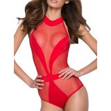 Red Mesh Sleeveless Opaque Teddy Lingerie