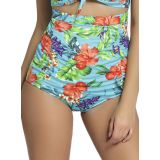 Floral Print Bluish Plus Size high Waist Swim Bottom