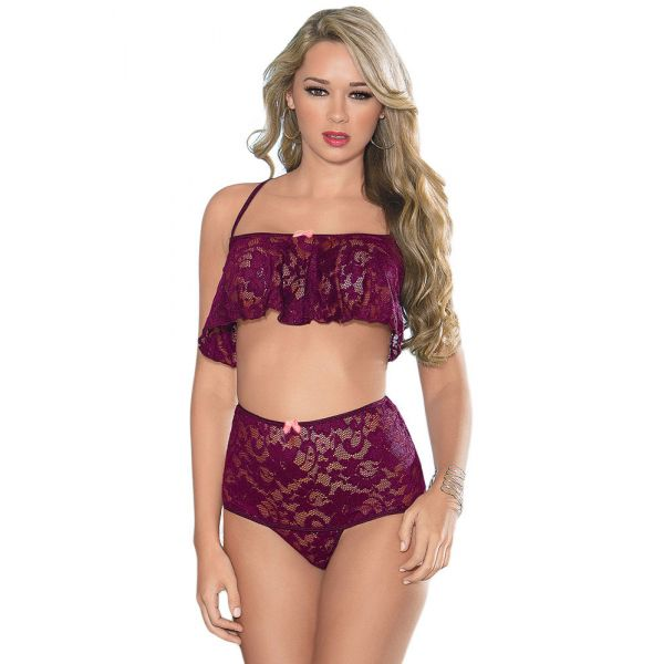Purple High Waist Lace Cami Set