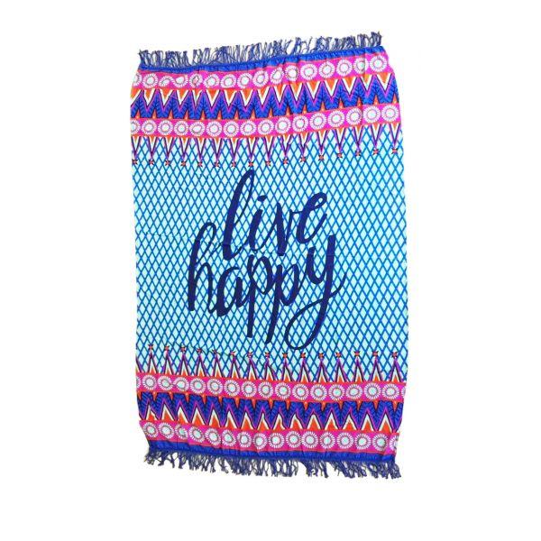 Live Happy Beach Towel Blankets