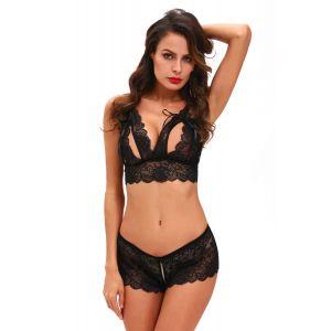 Black Crotchless Bralette Booty Short Lingerie Set - Комплекты белья