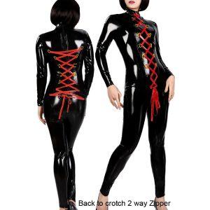 Черный виниловый костюм с двойной красной шнуровкой - Одежда (латекс, винил)