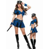 Blue Two Piece Police Cop Costume