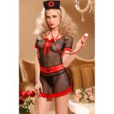Sexy Black Sheer Mesh Nurse Costume With Red Bowknot