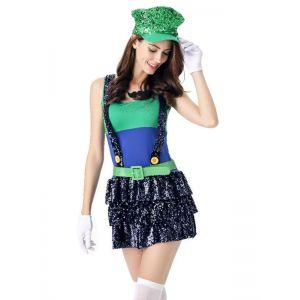 Sexy Halloween Cute Mario Costume Green